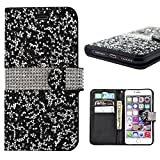 Iphone 7 Plus Wallet Case, 3D Bling Jelly Rhinestone PU Leather Wallet Flip Protective Skin Case with Magnetic Bling Button Card Slot Function for Apple Iphone 7 Plus 5.5 Inch (Black)