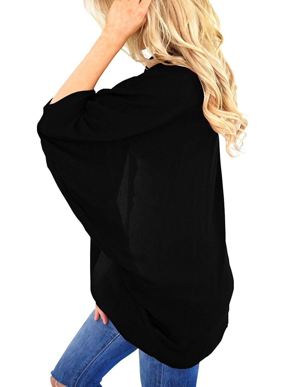 MineQ Womens Kimono Cardigan Lightweight Chiffon 3/4 Sleeve Open Front Loose Fit Cardigans Black XL by MineQ (Image #2)