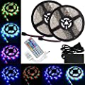 LTROP 2 Reels 12V 32.8ft Waterproof Flexible LED Strip Light Kit, Color Changing SMD3528 RGB with 600 LEDs Light Strips + 44-key IR Controller + 12V 5A Power Supply