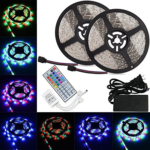 LTROP 2 Reels 12V 32.8ft Waterproof Flexible LED Strip Light Kit, Color Changing SMD3528 RGB with 600 LEDs Light Strips + 44-key IR Controller + 12V 5A Power Supply ()