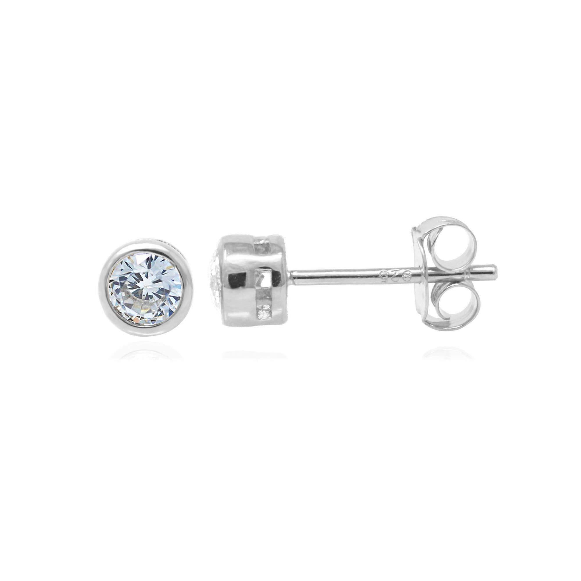 Rhdoiumd Plated Sterling Silver Bezel Set Cubic Zirconia Stud Earrings, 3mm stone
