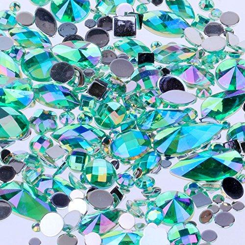 Mix Sizes 300pcs Crystal Light Green AB Nail Art Rhinestones DIY Non Hotfix Flatback Acrylic Nail Stones Gems for 3D Nails Art Decorations (Light Green AB)