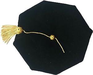 Grad Days Doctoral Graduation Tam Unisex Black Velvet 8-Sided with Gold Bullion Tassel Satin Silk Band