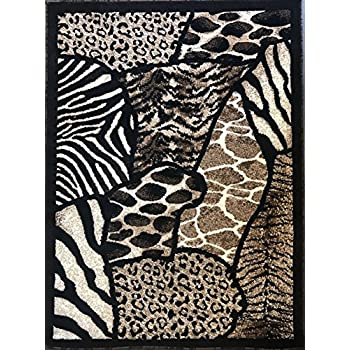 Amazon Com Animal Skin Print Area Rug Leopard Tiger Black