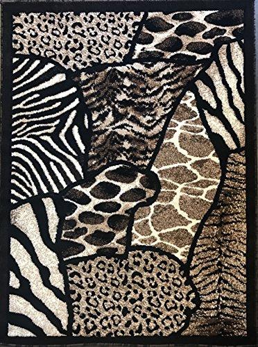 Animal Skin Print Area Rug Leopard/Tiger Black Skinz Design#70(5ftX7ft.)