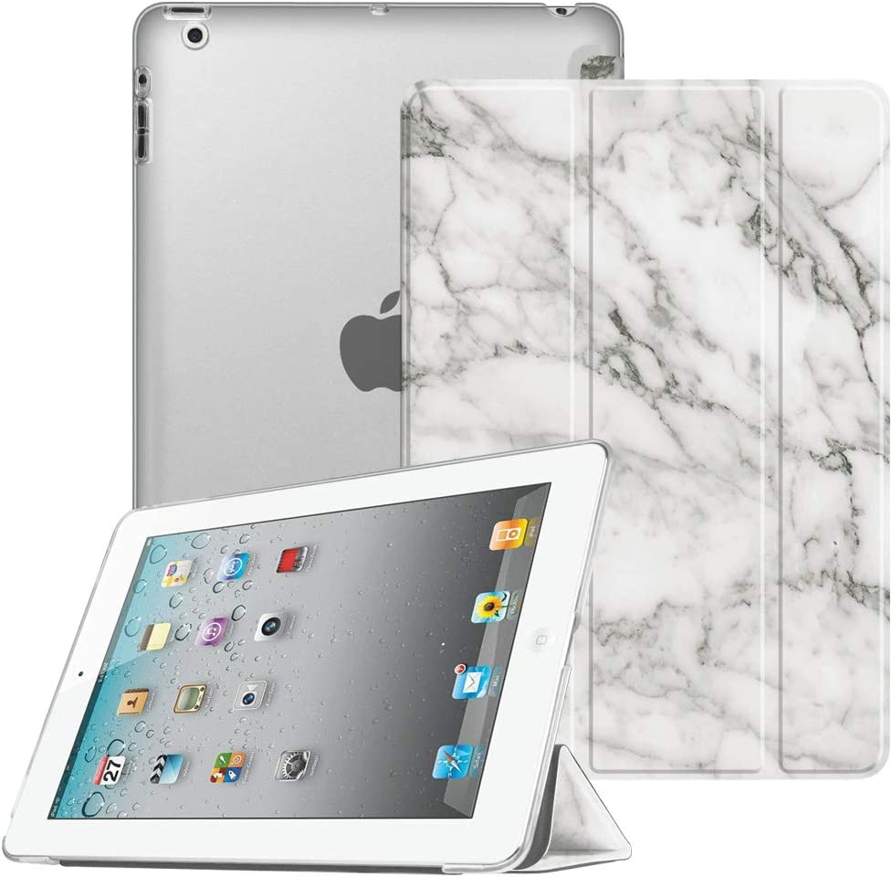 Fintie Case for iPad 2 3 4 (Old Model) 9.7 inch Tablet - Lightweight Smart Slim Shell Translucent Frosted Back Cover Auto Wake/Sleep for iPad 4th Generation Retina Display, iPad 3/2, Marble White