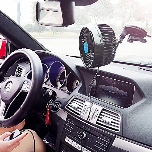 Wua 12V 6 inch Car Cooling Fan Automobile Vehicle Adjustment Suction Cup Fan Powerful Quiet Ventilation Electric Fans with Suction Cup & Cigarette Lighter Plug for Car/ Vehicle by Wuao (Image #6)