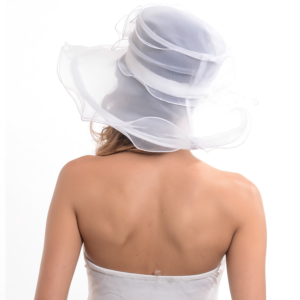 Women's Kentucky Derby Dress Tea Party Church Wedding Hat S609-A (S019-White) by HISSHE (Image #3)