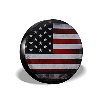 "Jackmen Spare Tire Cover American Flag Polyester Universal Sunscreen Corrosion Protection Wheel Covers for Jeep Trailer RV SUV Truck and Many Vehicles (14"" 15"" 16"" 17"") : Clothing"
