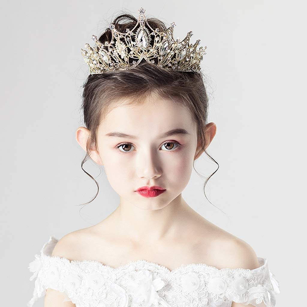 Suitable For Children Over 3 Years Old Tiaras //-// RKY Girls Crown Color : Beige Childrens Crown Headdress Princess Girl Crown Crystal Hair Card Gold Headband Catwalk Show Hair Accessories