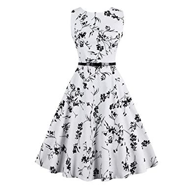 KeKeD23921 Sexy Womens Vintage Summer Dress Elegant Retro Dress For Women Floral Print Belted Party Office