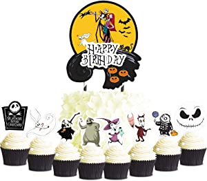 Party Decor for Nightmare Before Christmas Cake Cupcake Toppers Set Girl Theme Birthday Supplies Favors Topper Decorations