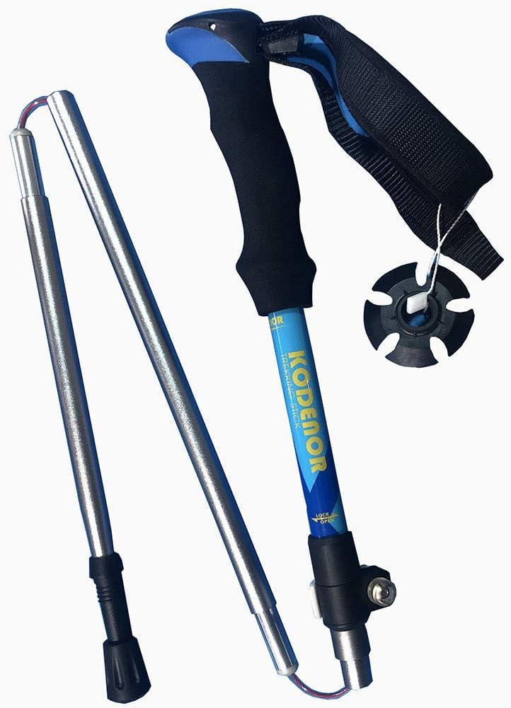 1 palo de senderismo de aluminio telesc/ópico antigolpes antideslizante para trekking viaje deporte al aire libre