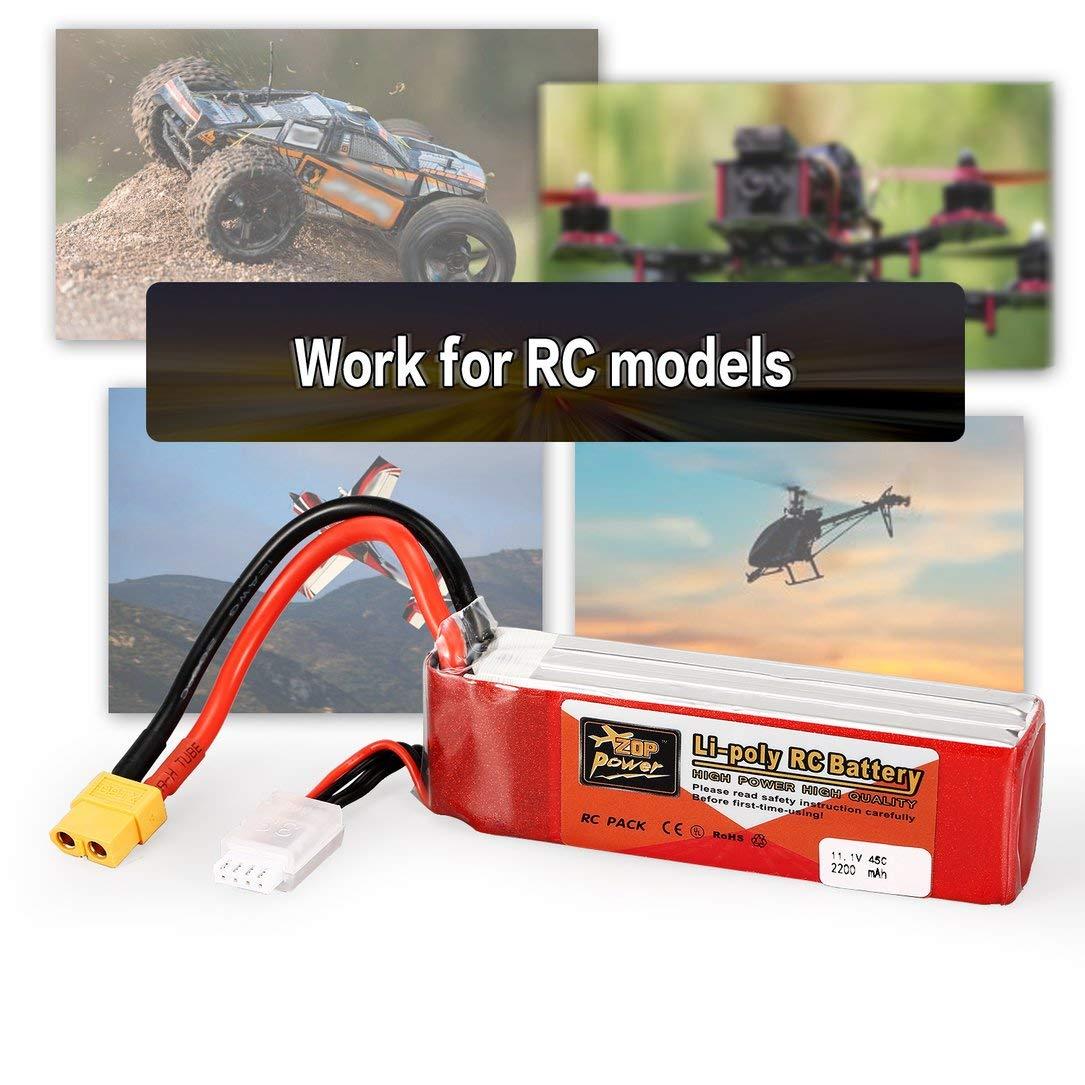 Monllack ZOP Poder 11.1V 2200mAh 45C 3S 3S1P Lipo bater/ía XT60 del Enchufe Recargable para RC Racing Aviones no tripulados Modelo de helic/óptero de Multicopter Coche