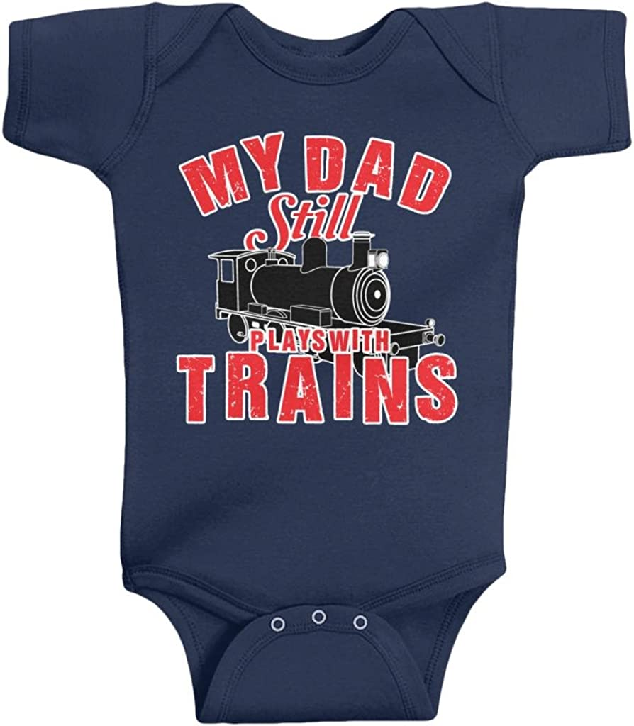 Threadrock Unisex Baby My Dad Still Plays with Trains Bodysuit