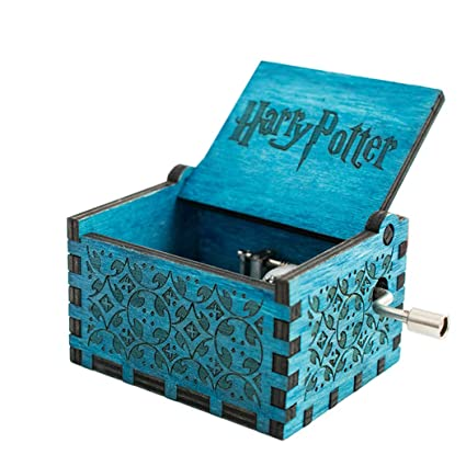 carsge Caja Musical Harry Potter de Madera Melodía Personalizadas (Azul-Harry Potter)