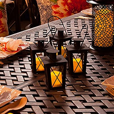 Set of 4 Powder Coated Mini Crossbar Lanterns with Votives and Remote