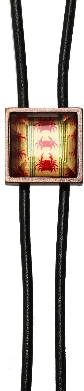 TAMARUSAN Leather Strap Bolo Tie Crab Red Mens Accessories