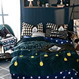 Bedding set duvet cover flannel four piece double bed sheet american european style christmas decoration-S King