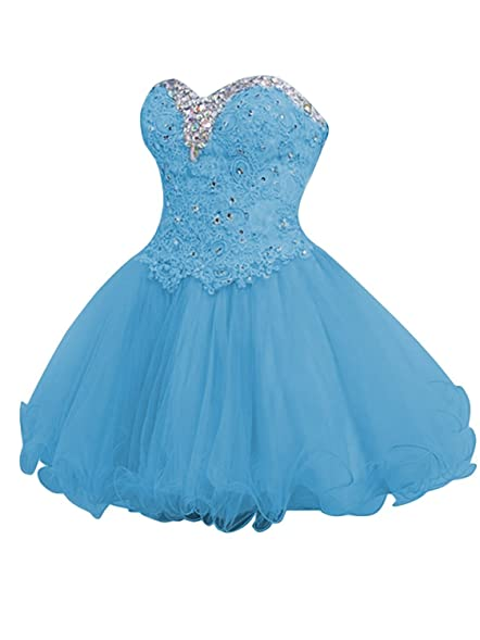 CutieTell Womens A-line Sweetheart Tulle Short Lace Homecoming Dresses Blue US2