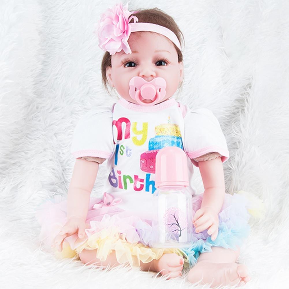 SupportsHelp Reborn Baby Dolls, Simulation Newborn Baby Dolls Soft Silicone Kid Playmate Bathing Toys Pink