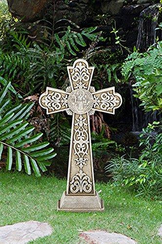 (Avalon Gallery Saint Benedict of Nursia Stoneresin Garden Cross Statue, 24 Inch)