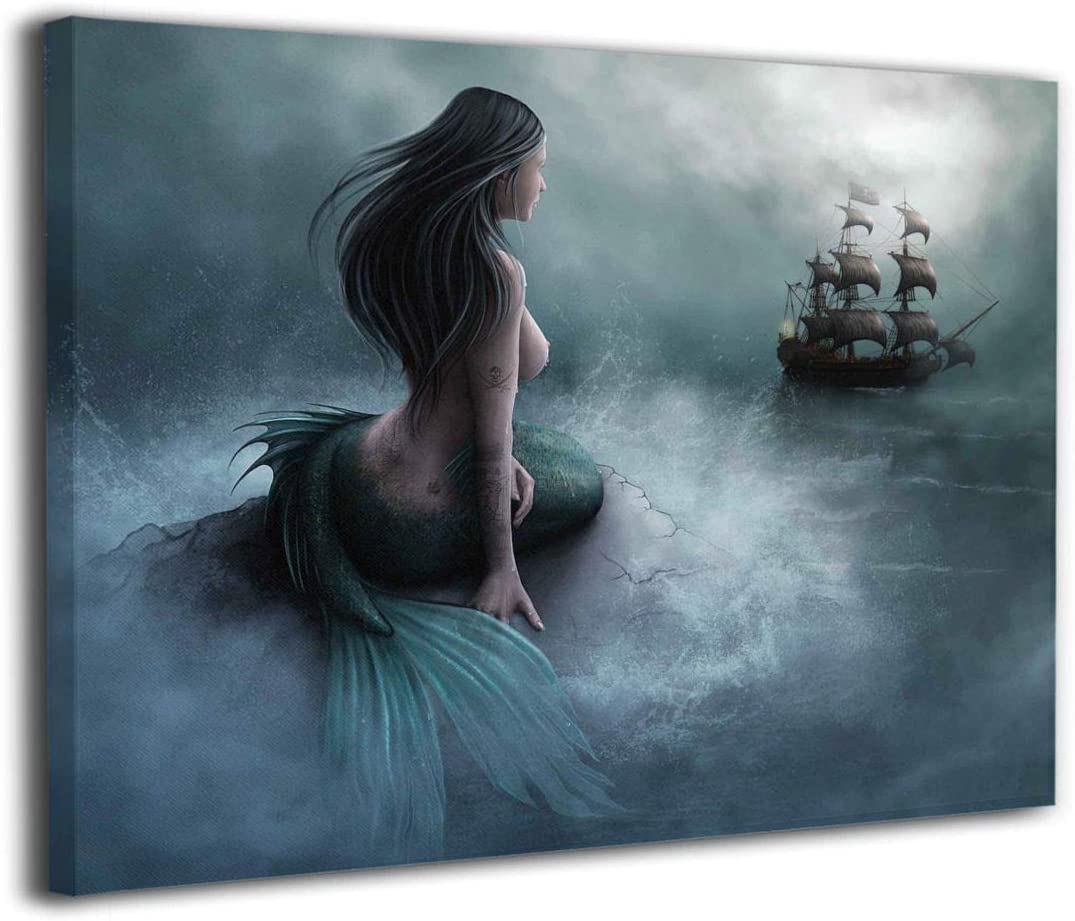 """Okoart Canvas Wall Art Prints Mermaid and The Sailing Pirate Ship Fantasy -Photo Paintings Contemporary Decorative Giclee Artwork Wall Decor-Wood Frame Gallery Wrapped 16""""x20"""""""