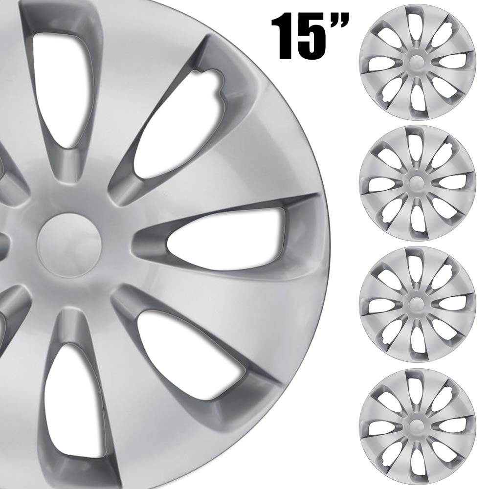 15 Inch Set 4-Pack BDK Premium 15 Wheel Rim Cover Hubcaps OEM Style Replacement Snap On Car Truck SUV Hub Cap
