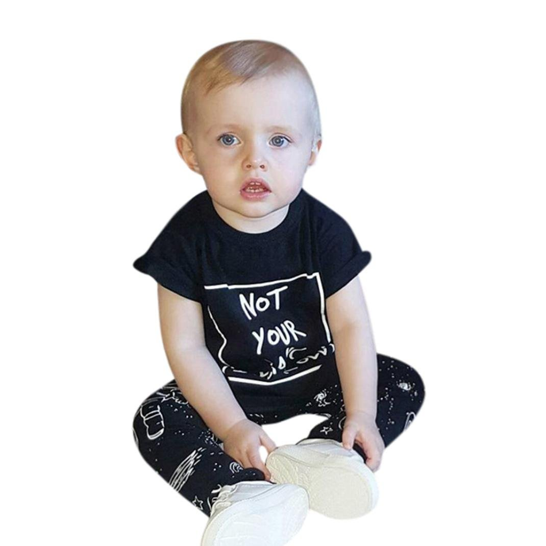 Sunbona 2pcs Set Outfits Infant Baby Boys Letter Print T-Shirt Tops+Aether Spaceman Print Clothes