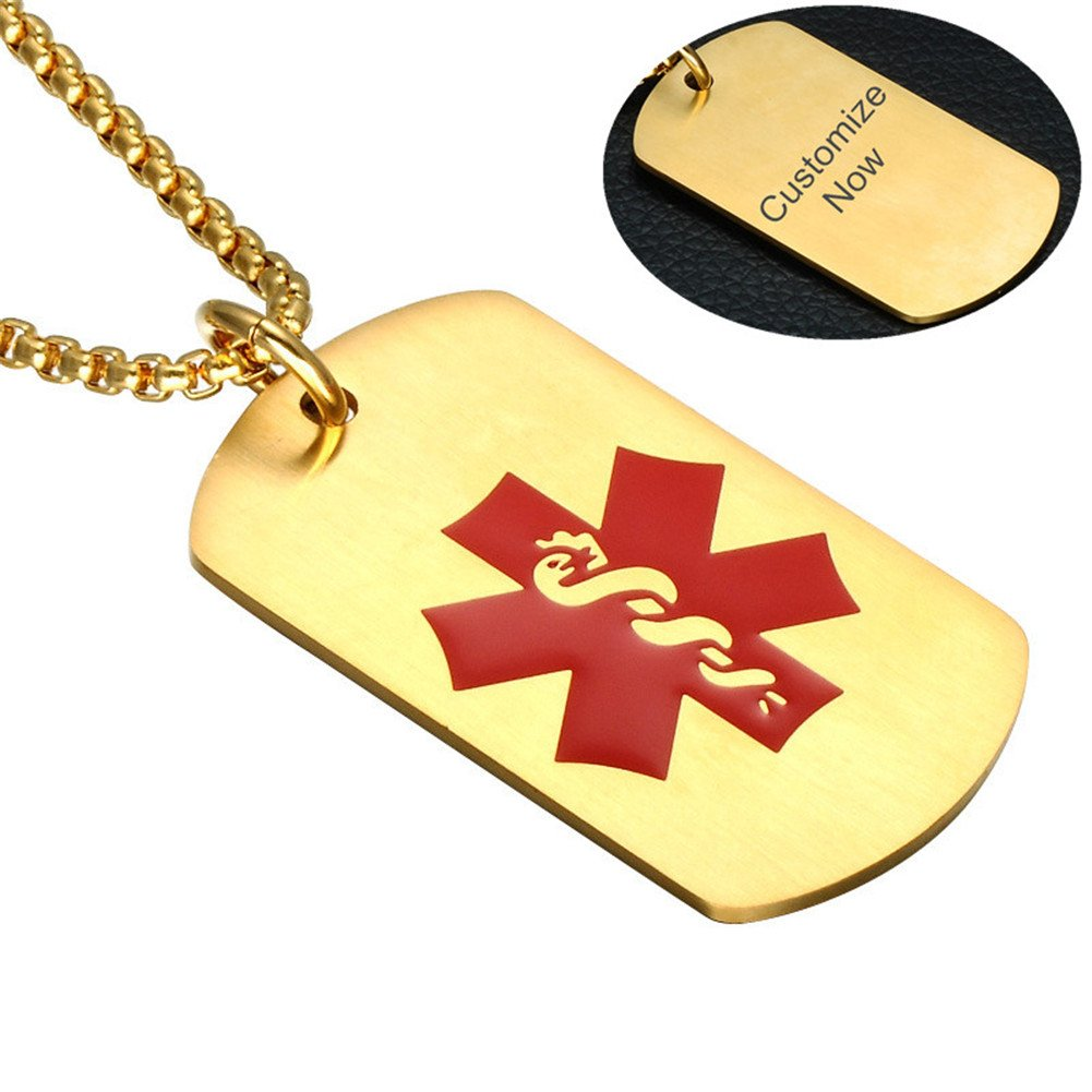 Comfybuy CF Free Engraving Blank Stainless Steel Medical Alert Disease Awareness Identification Necklace Gold Military Dog Tag Pendant,Emergency SOS Daily Life Saver for Kids,Grandpa,Grandma,Parents