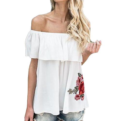 Longra Las mujeres de la blusa del cordón del cordón de la gasa del ganchillo de la camisa rematan o...
