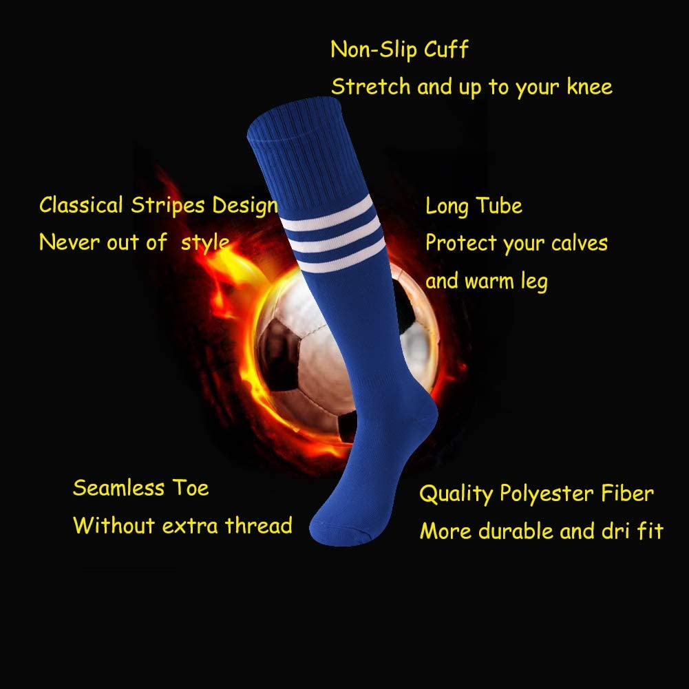 Socks Daze Unisex Knee High Stripe Socks Soft Long Tube Football Sports Socks 3 Pairs