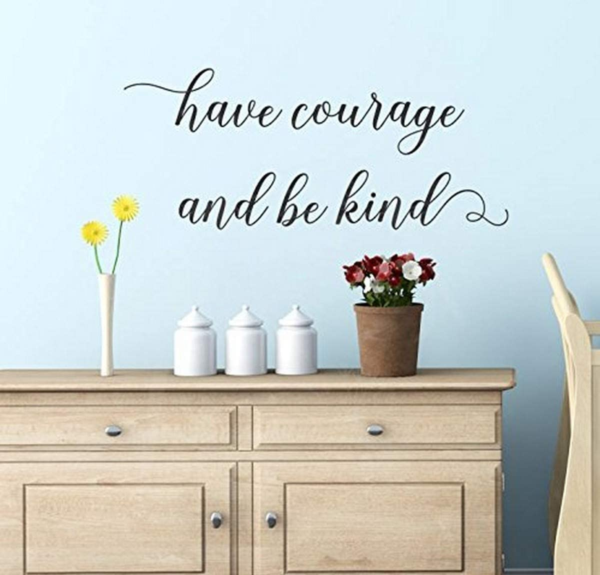 Wall Decor Plus More WDPM3905 Courage Be Kind Inspirational Decals Vinyl Sticker Wall Words, 23x10-inch, Black