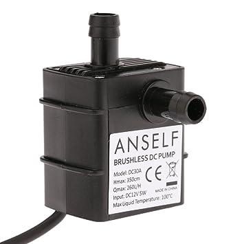 ANSELF - Bomba de Agua / Aceite / Líquido para Fuente Sumergible Acuario Circulación Impermeable &