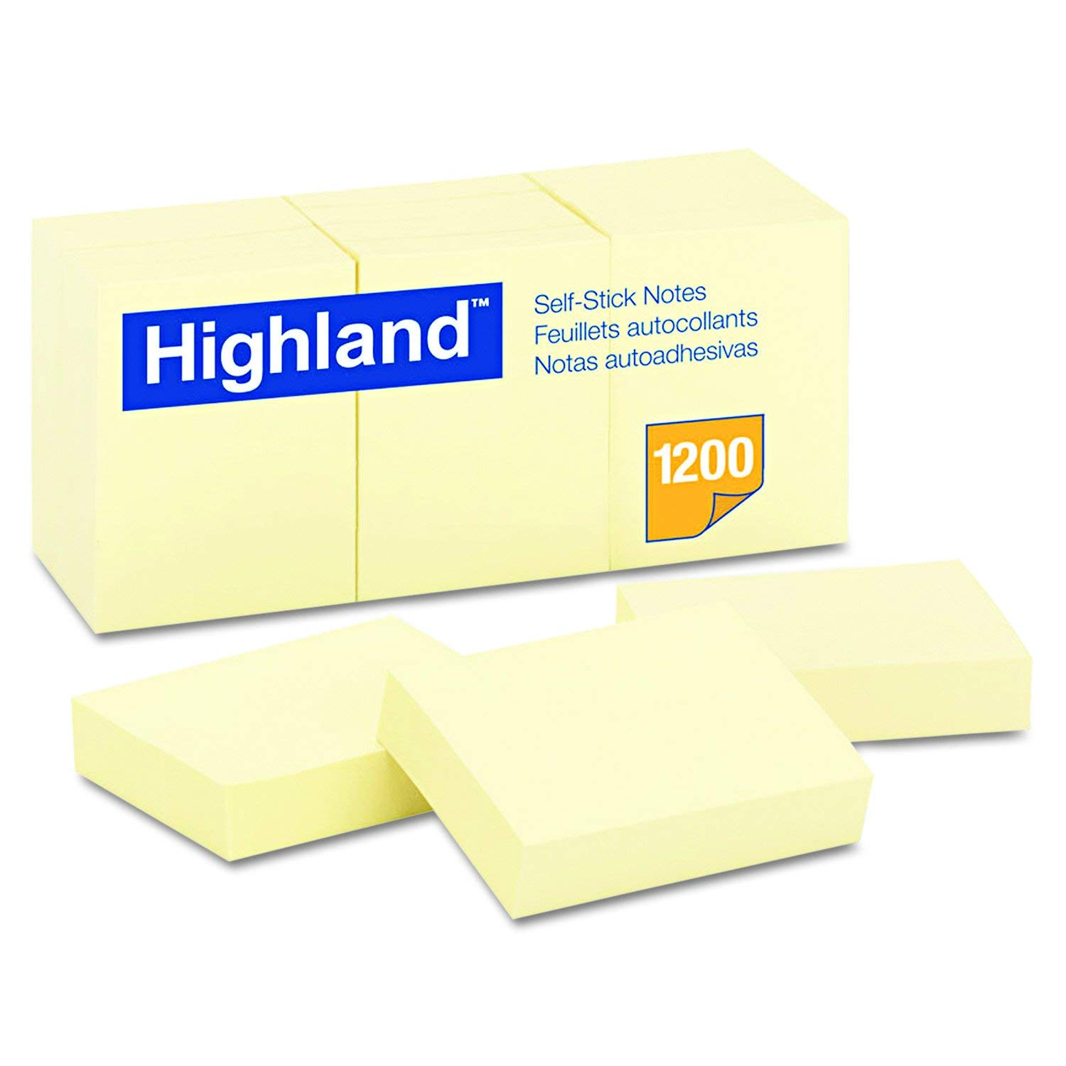 Highland 6539YW Self-Stick Notes, 1 1/2 x 2, Yellow, 100-Sheet (Pack of 60)