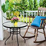 """Tangkula 32"""" Outdoor Patio Table Round Steel"""