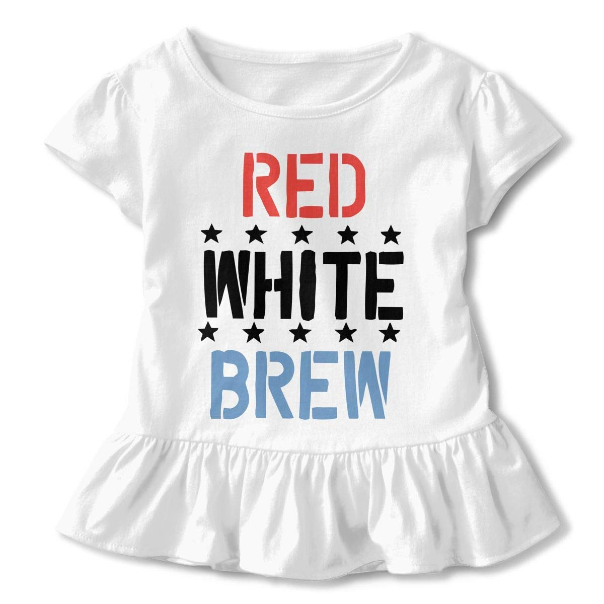 Girls Short Sleeve Red White /& Brew Beer Shirts 2-6T Casual Blouse Clothes with Flounces