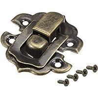 uxcell Box Latch, Small Size Bronze Decorative Hasp Jewelry Cases Catch w Screws 10 Sets