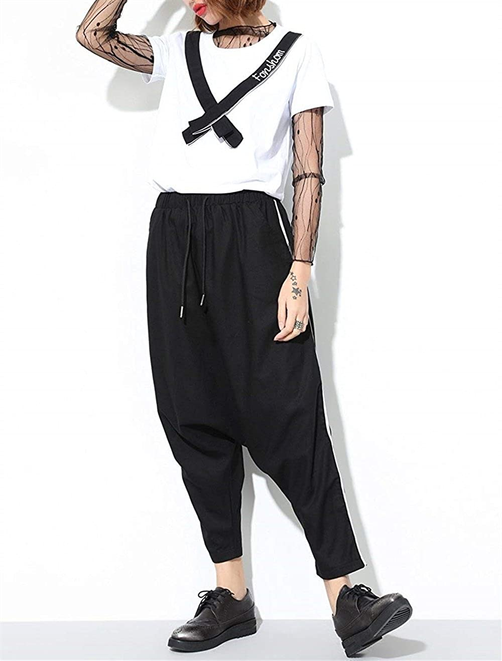 Donna Pantaloni Harem Fashion Sciolto Con Coulisse Vita Elastica Pantaloni  Eleganti Hipster Chic Ragazza Streetwear Hip Hop Stile Pluderhose Pantaloni  ... 3888606f65e1
