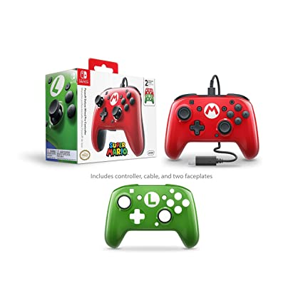 c472acb78e Amazon.com  PDP Nintendo Switch Faceoff Wired Pro Controller with 2 Super  Mario Controller Faceplates  Video Games