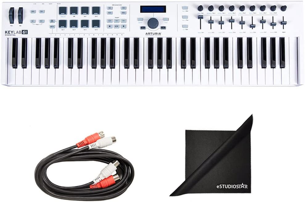 Arturia KeyLab Essential 61 Universal MIDI Controller Software and Free AxcessAbles Midi Cables
