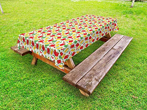 rfy9u7 Peppers Outdoor Tablecloth, Colorful Illustration of Paprika Pods with Polka Dots on The Background Dining Table Cloth for Holiday Decor (Pod Table Dining)