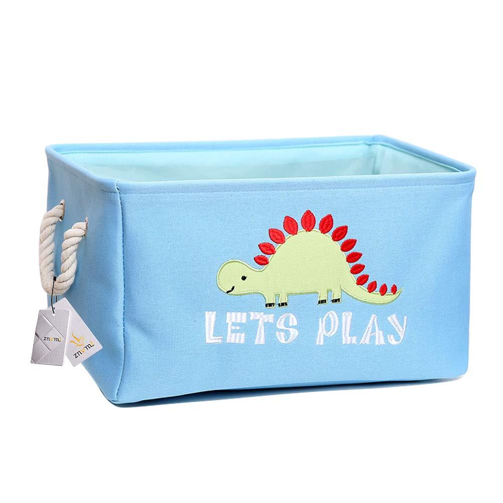 Cartoon Dinosaurier Znvmi Aufbewahrungskorb Baby W/äschekorb Kinderzimmer Spielzeug Organizer Aufbewahrungsbox mit Griff Regallagerbeh/älter Blau