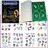 Master Airbrush® Brand Airbrush Tattoo Stencils Set Book #9 Reuseable Tattoo Template Set, Book Contains 100 Unique Stencil Designs, All Patterns Come on High Quality Vinyl Sheets with a Self Adhesive Backing.