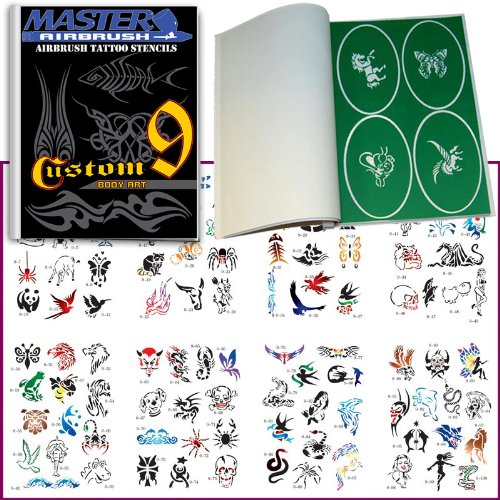 Master Airbrush Brand Airbrush Tattoo Stencils Set Book #9 Reuseable Tattoo Template Set, Book Contains 100 Unique Stencil Designs, All Patterns Come on Vinyl Sheets with a Self Adhesive Backing. ()