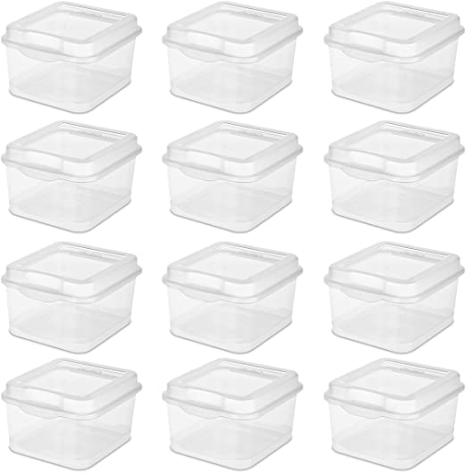Sterilite Plastic FlipTop Latching Storage Box 18038612 Clear 12 Pack