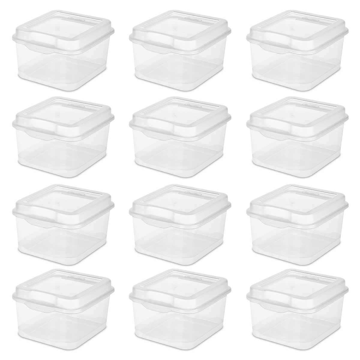 Sterilite 18038612 Flip Top, Clear, 12-Pack