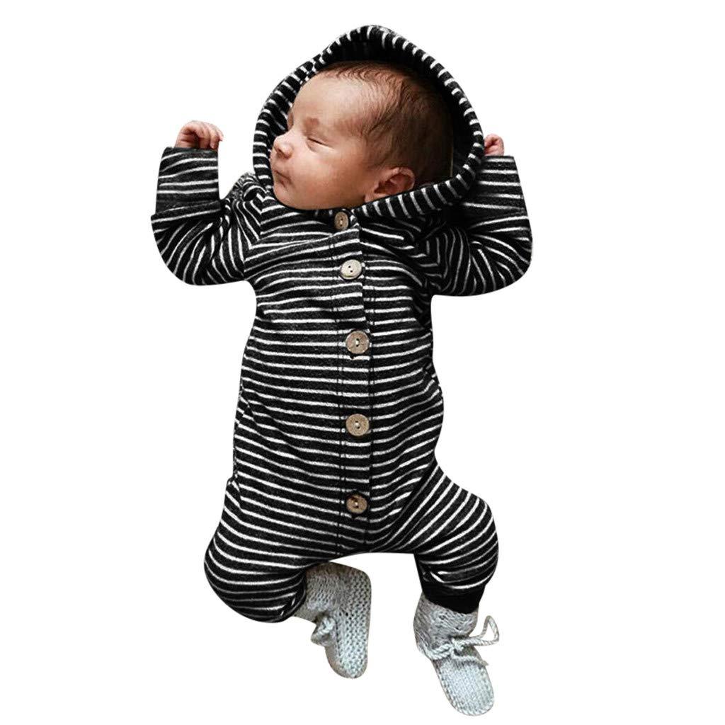 Winter-Kleinkind-Jungen-M/ädchen-Langarm-Overall mit Kapuze und gestreiftem Print DWQuee ❤️ Babyoverall 3-18 Monate