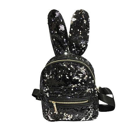 Women Girls Glitter Sequins Rabbit Ear School College Backpacks Rucksack  Shoulder Bag Purse Travel Satchel (Black)  08647b0d7d362
