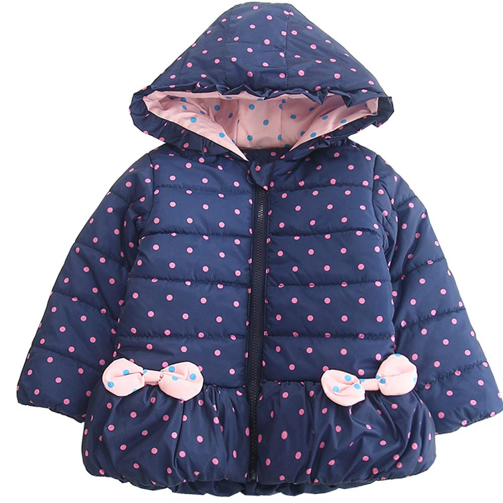 AUIE SAOSA Little Girls Winter Warm Polka dots Cotton Padded Clothes Hoods Jackets